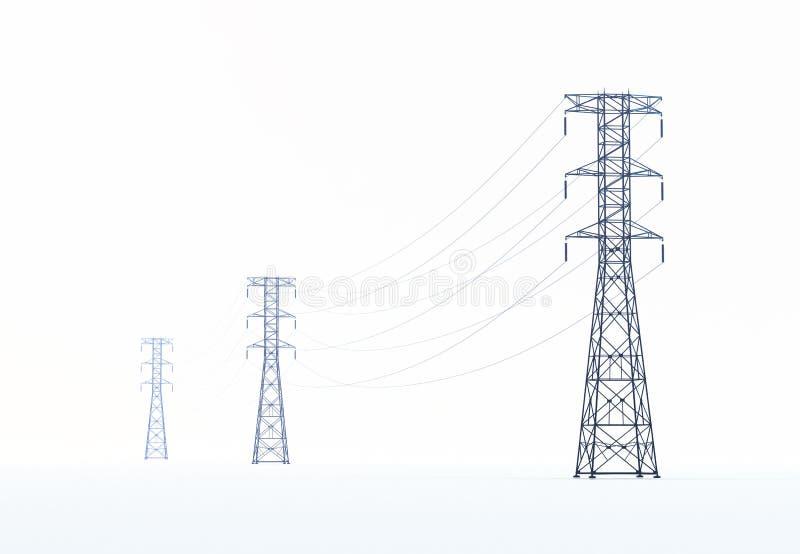 Linhas eléctricas de alta tensão ilustração do vetor