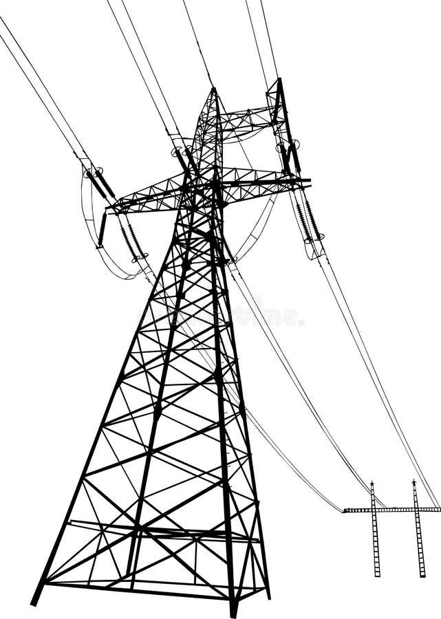 Linhas eléctricas e pilões elétricos ilustração do vetor