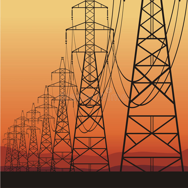 Linhas eléctricas elétricas ilustração stock