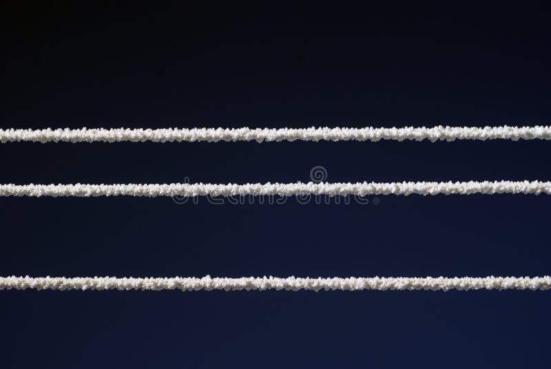 Linhas elétricas cobertas com a neve no tempo gelado no fundo escuro do céu imagens de stock