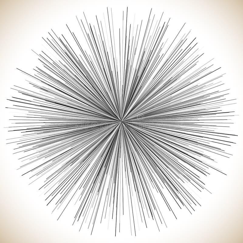 Linhas elemento radiais Ilustração geométrica abstrata radiating ilustração stock