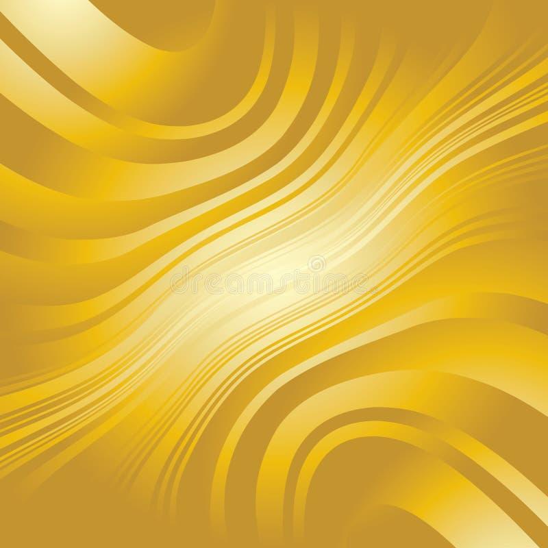 Linhas entortadas abstratas fundo do ouro ilustração stock