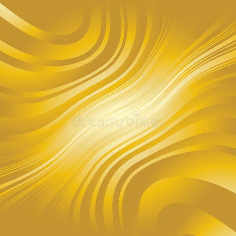 Linhas entortadas abstratas fundo do ouro ilustração royalty free