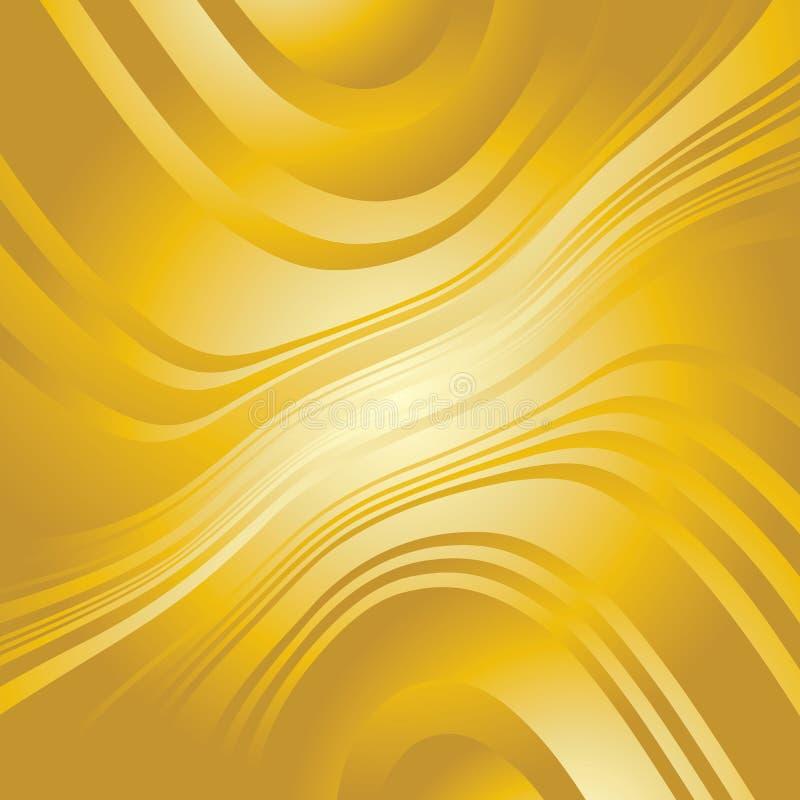 Linhas entortadas abstratas fundo do ouro ilustração do vetor