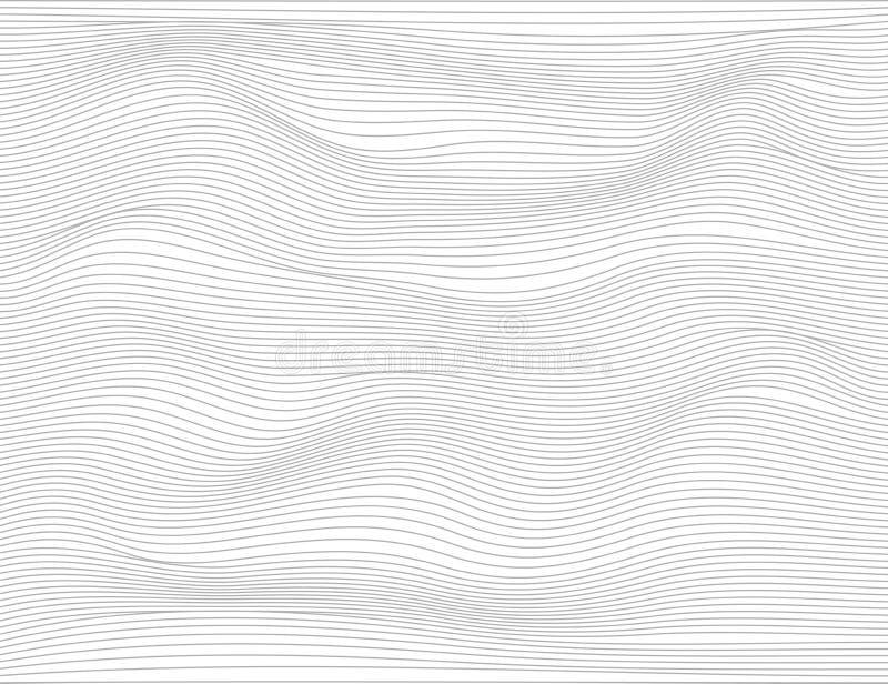 Linhas escuras abstratas onduladas Teste padrão das listras da textura do vetor, fundo branco isolado Capaz de cobrir, fácil muda ilustração stock