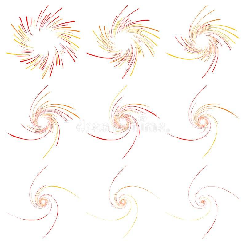 Linhas espirais Redemoinho dinâmico, grupo da forma do giro Radial, irradiando ilustração royalty free