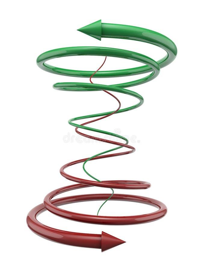 Linhas espirais verdes e vermelhas com setas ilustração royalty free