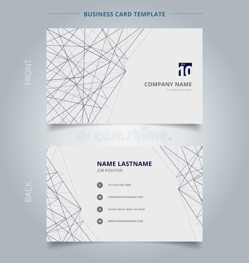Linhas estrutura do molde do negócio do cartão de nome no fundo branco ilustração do vetor