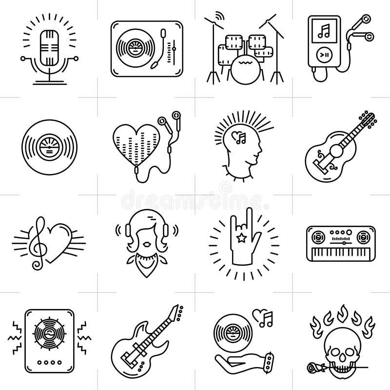 Linhas finas ícones da música ajustados Faixa do punk rock, guitarra, DJ ilustração royalty free