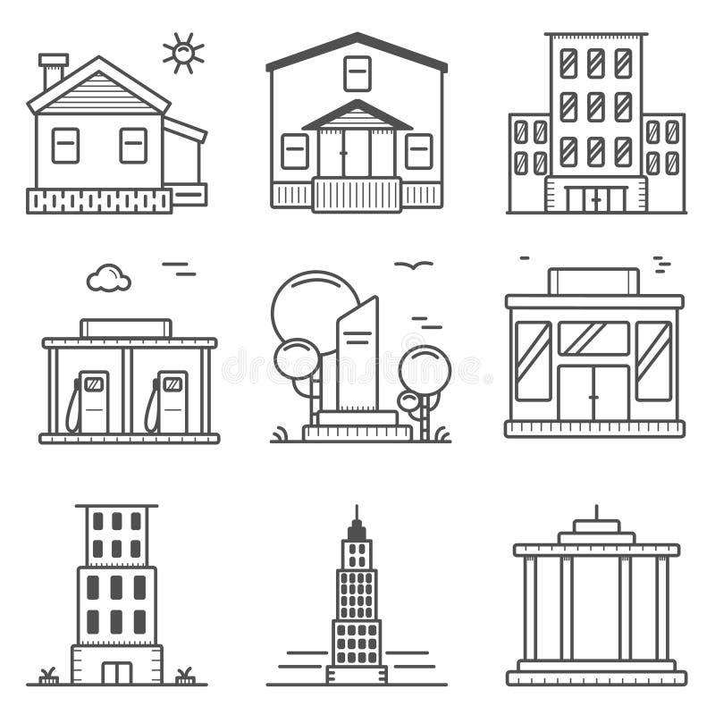 Linhas finas ícones e elementos da cidade ilustração royalty free