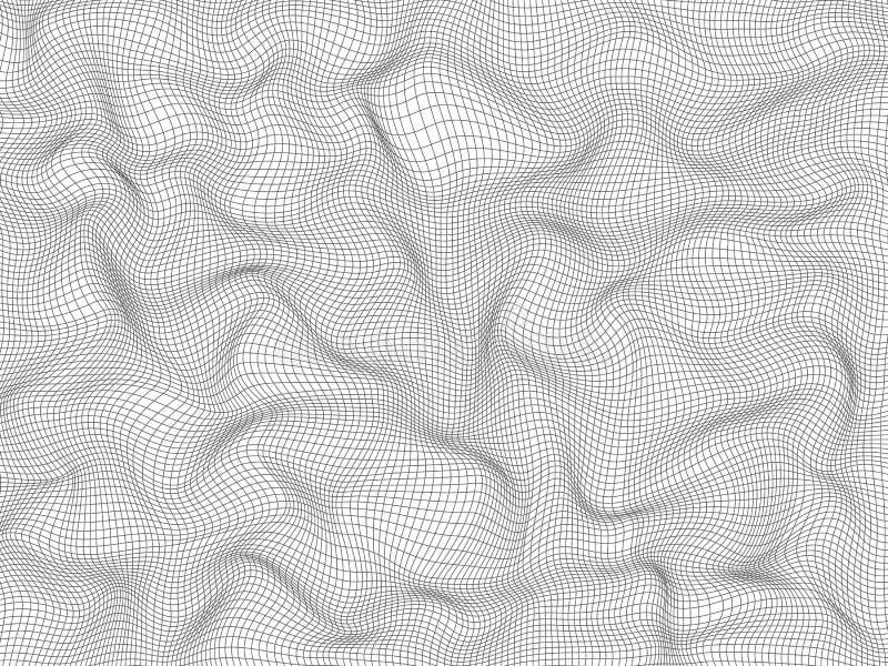 Linhas finas distorcidas do quadrado cinzento Efeito ondulado abstrato da grade 3 d Elemento com a capacidade para cobrir um fund ilustração royalty free