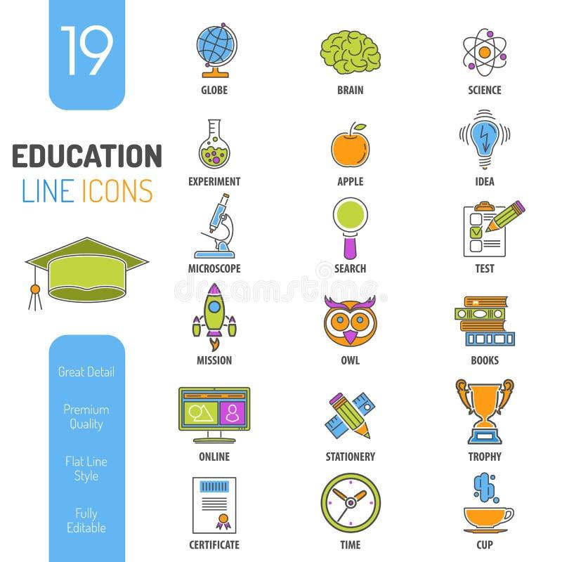 Linhas finas grupo da educação em linha do ícone da Web da cor ilustração stock