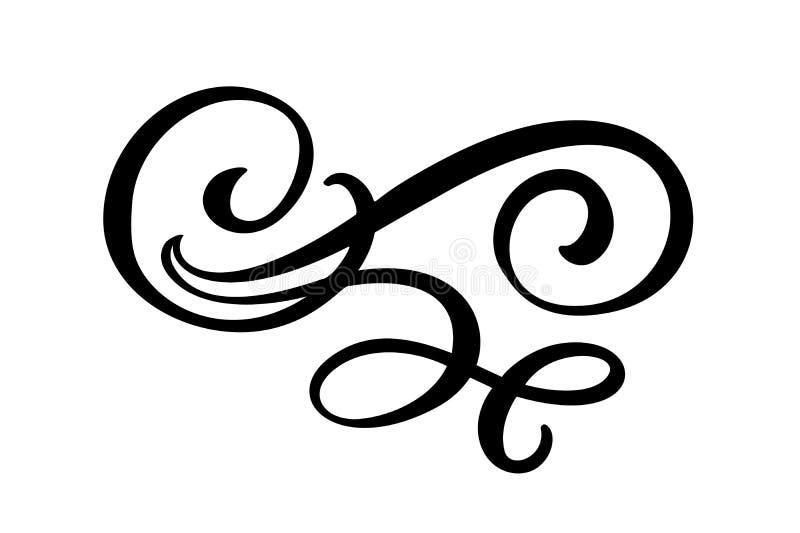Linhas florais elementos filigranas do projeto Linha divisores e separadores elegantes, redemoinhos e cantos do vintage do vetor ilustração royalty free