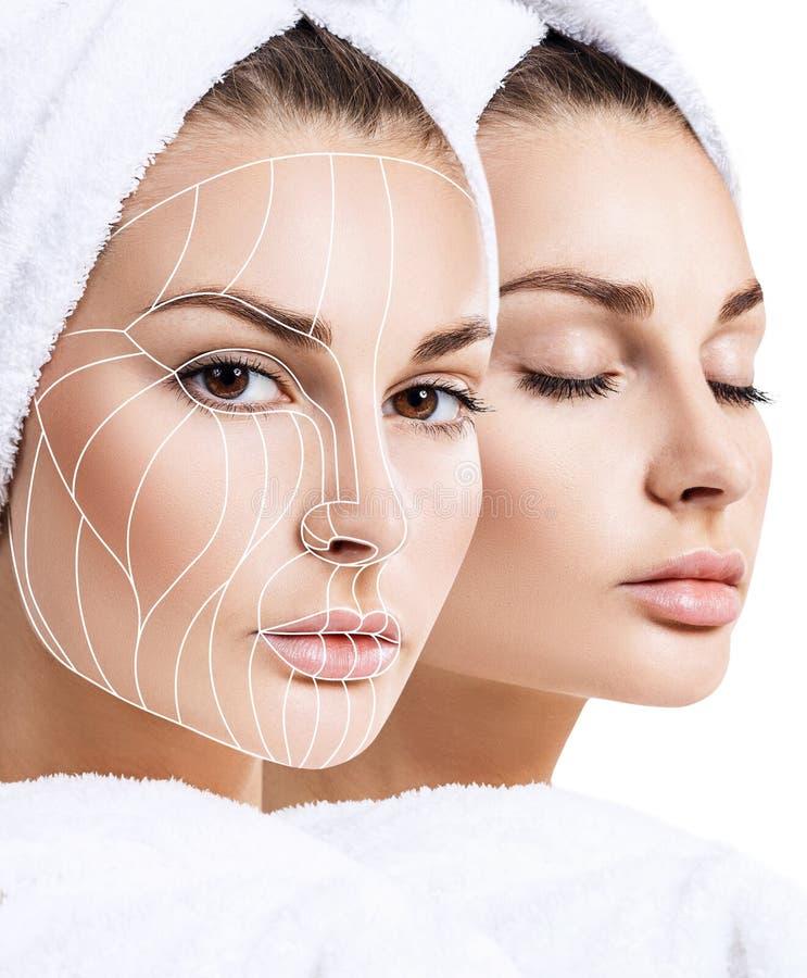 Linhas gráficas que mostram o efeito de levantamento facial na pele fotografia de stock royalty free