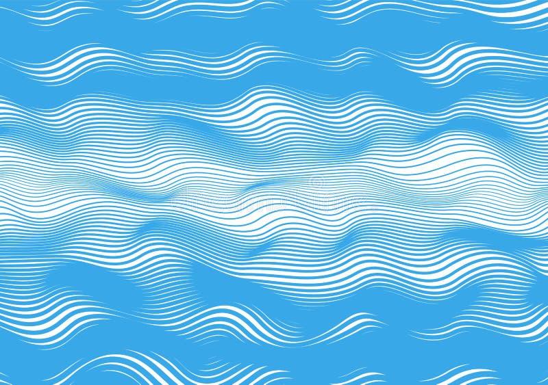 Linhas horizontais abstratas, onda azul, enrolamento, distorção fundo branco isolado ilustra??o do vetor ilustração royalty free
