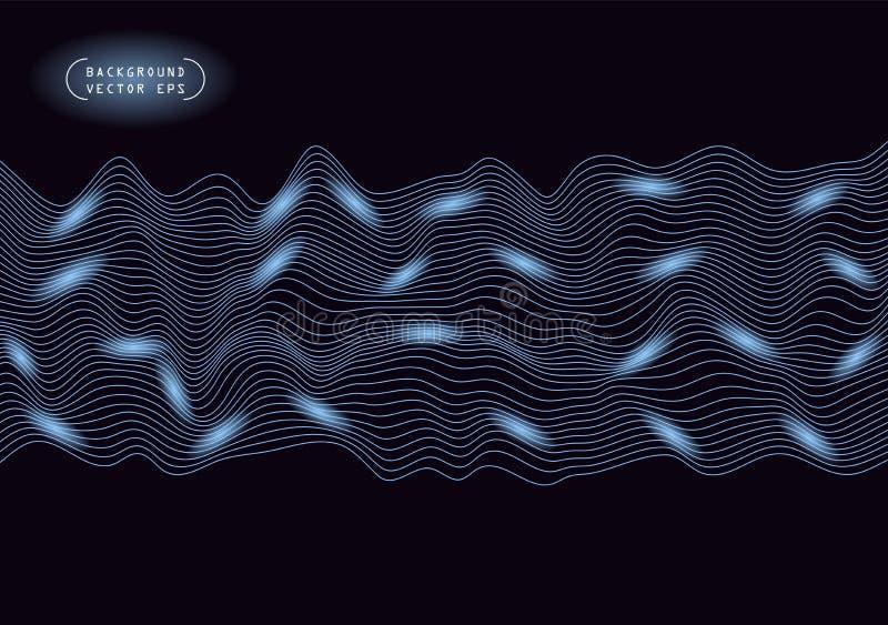Linhas horizontais onduladas do sumário, enrolamento azul, onda do relevo Molde da ilustração do vetor com a capacidade para cobr ilustração stock