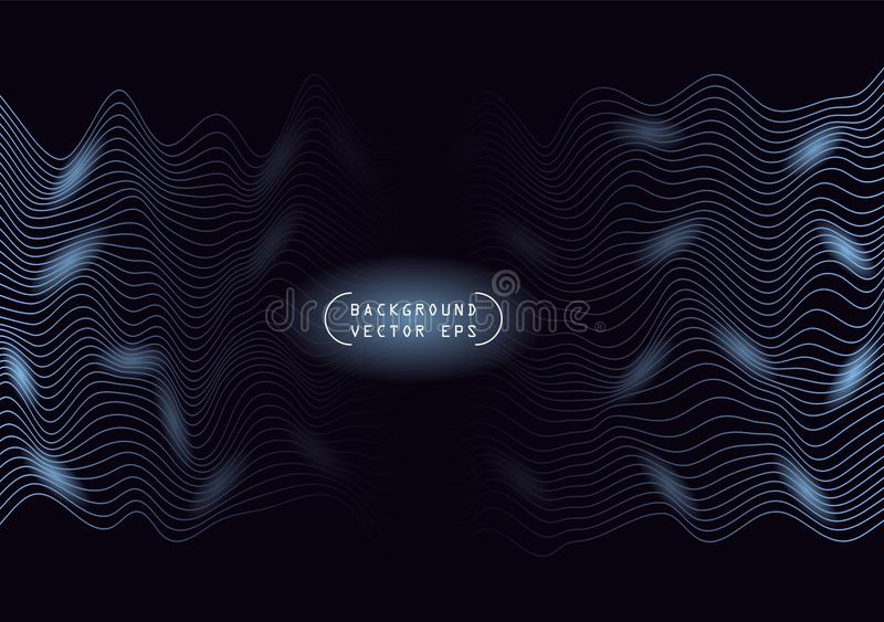 Linhas horizontais onduladas do sumário, enrolamento azul, onda do relevo Molde do vetor com a capacidade para cobrir o fundo esc ilustração do vetor