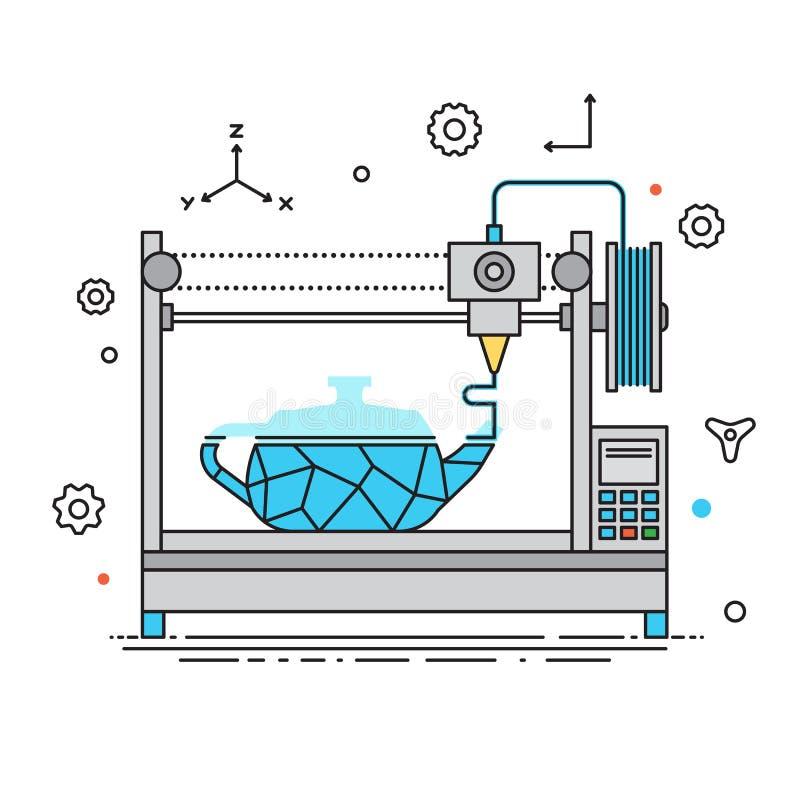 linhas ilustração da impressora 3D do vetor do projeto O processo de impressão no projeto de Flat da impressora 3D com grupo do í ilustração do vetor