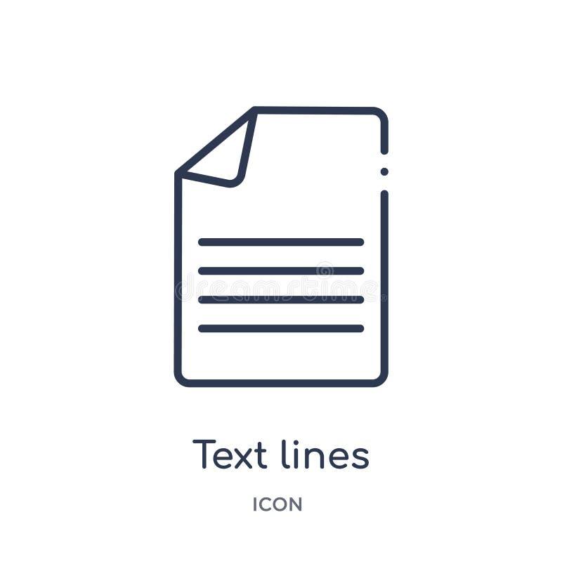 Linhas lineares ícone do texto da coleção do esboço de Comunation Linha fina linhas vetor do texto isolado no fundo branco linhas ilustração royalty free