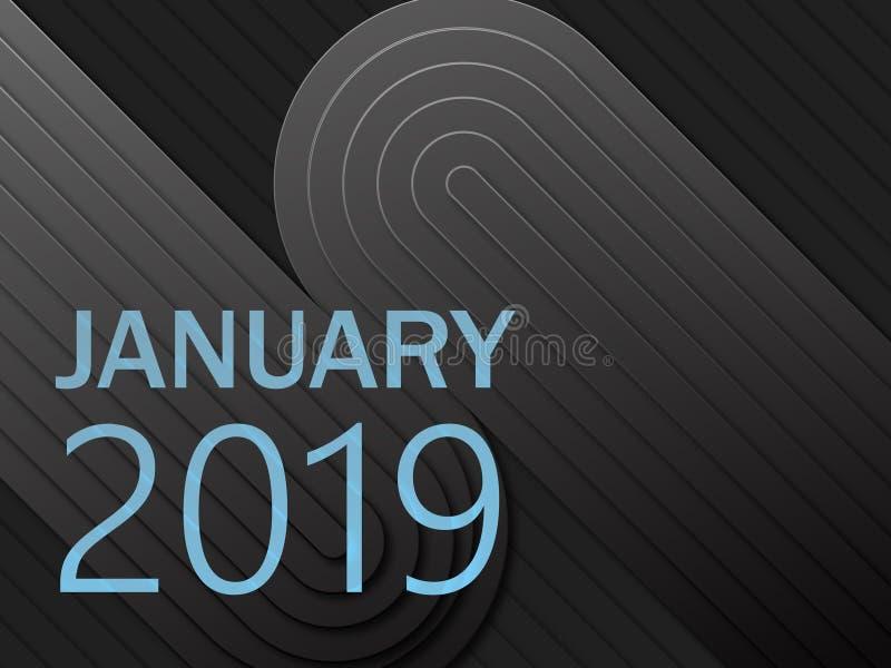 Linhas lisas 2019 do fundo geométrico escuro do techno ilustração stock