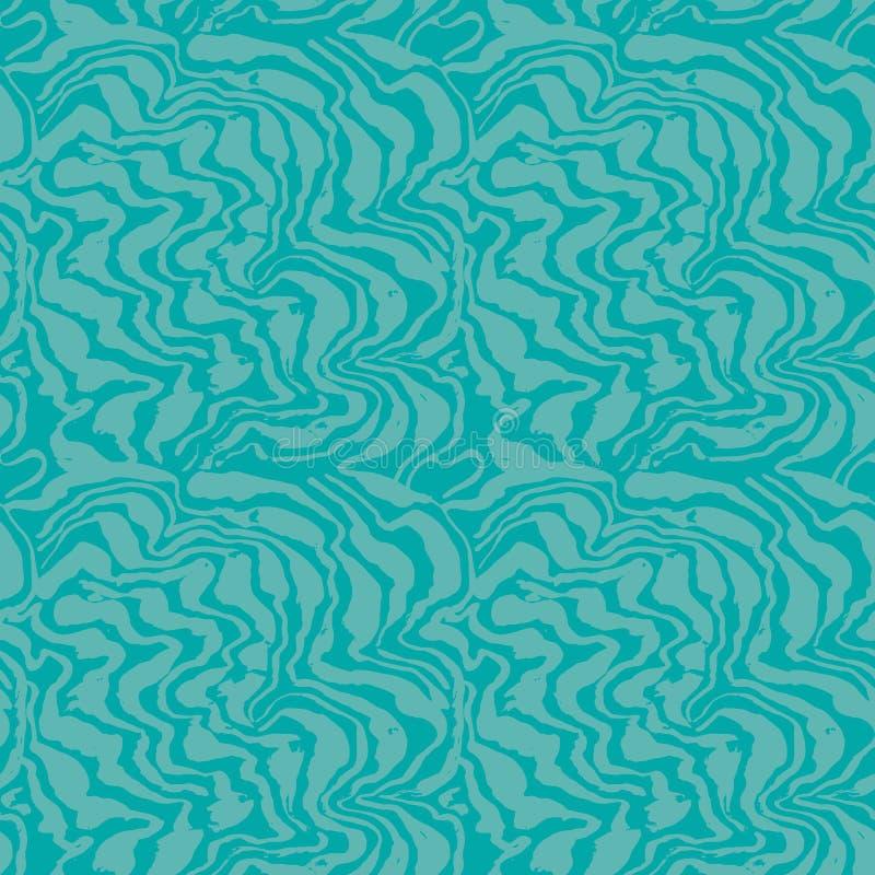 Linhas a mão livre pintadas escova teste padrão sem emenda Fundo azul do grunge da onda Ilustração do vetor ilustração stock