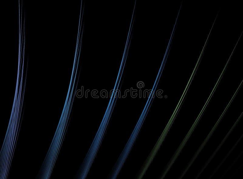 Linhas Multicolor do Fractal sobre o preto ilustração royalty free