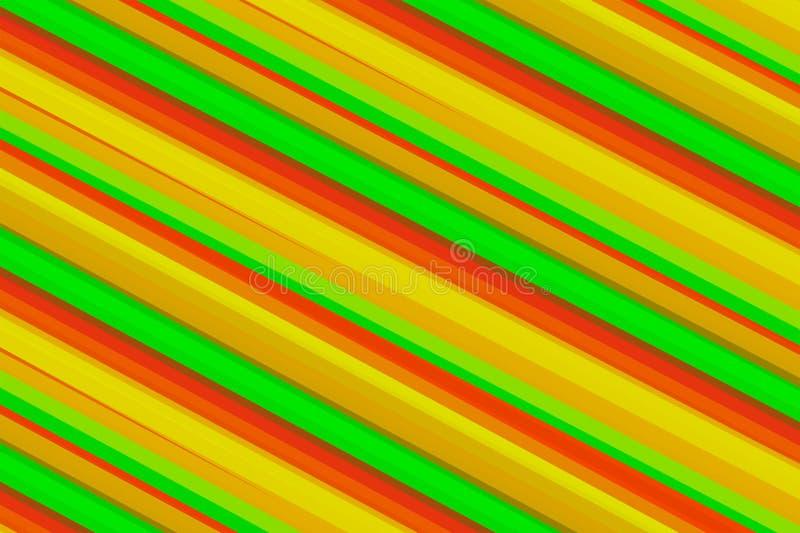 Linhas oblíquas coloridas brilhantes base morna amarela alaranjada verde do fundo dos tons do inclinação ilustração royalty free