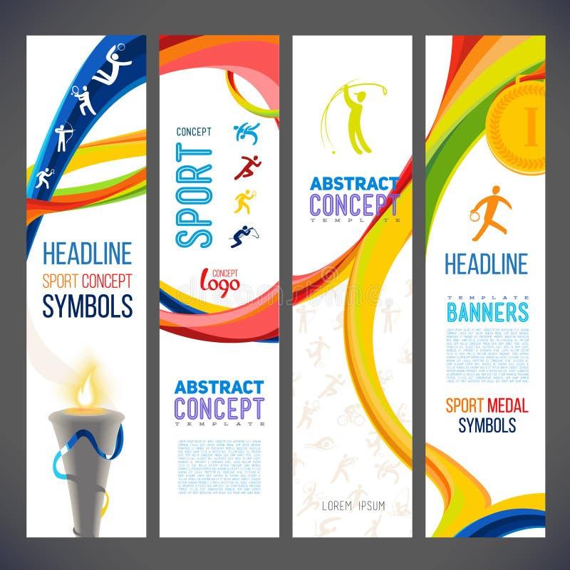 Linhas onduladas abstratas em cores diferentes para uma série de bandeiras esporte-relacionadas ilustração do vetor