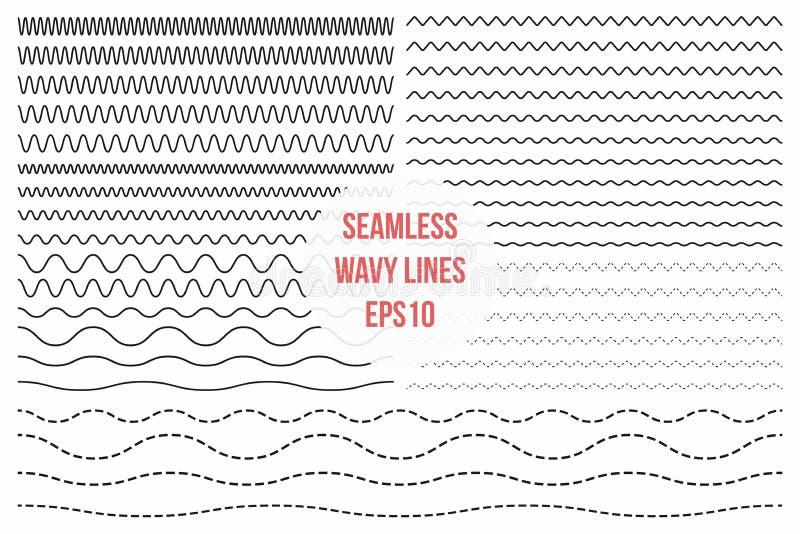 Linhas onduladas ajustadas Ziguezague fino sem emenda horizontal, cruz dos criss e linhas onduladas para escovas ilustração do vetor