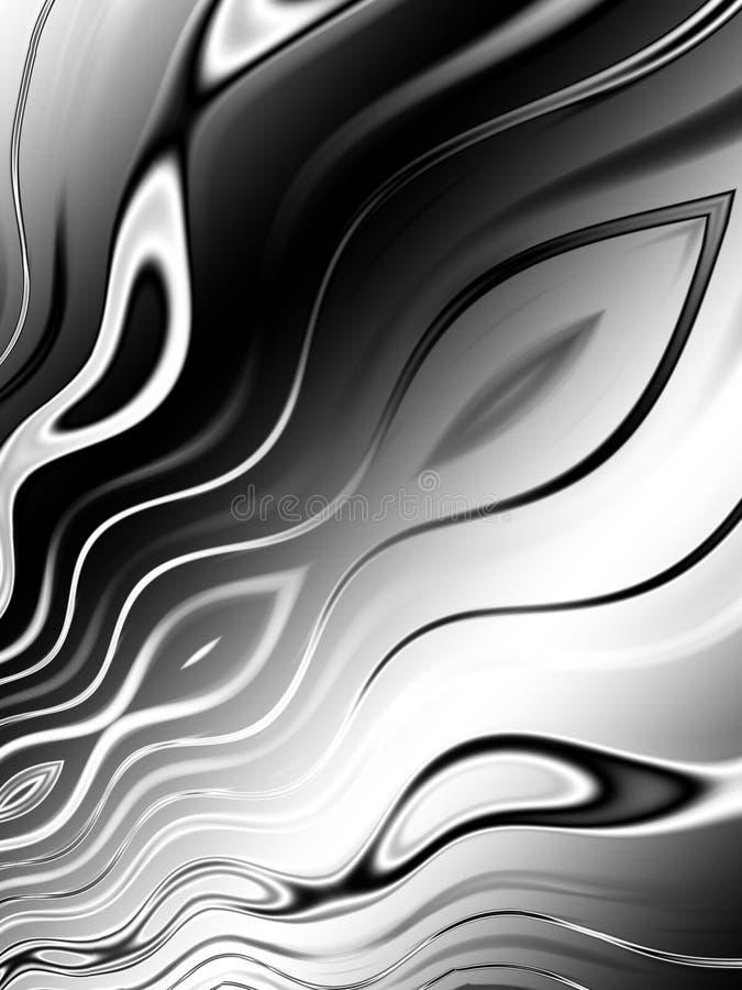 Linhas onduladas brancas pretas teste padrão ilustração stock