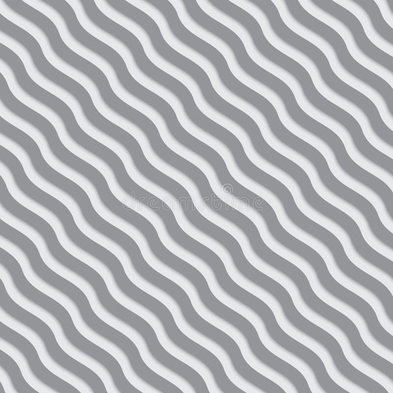 Linhas onduladas cinzentas e brancas teste padrão engrenado ilustração royalty free