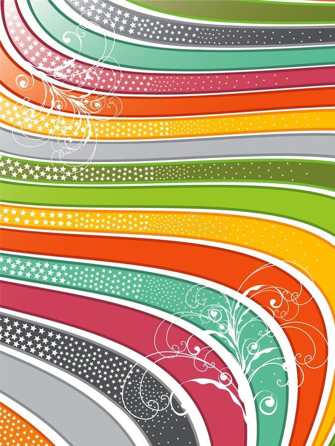 linhas onduladas redemoinhos do arco-íris ilustração do vetor