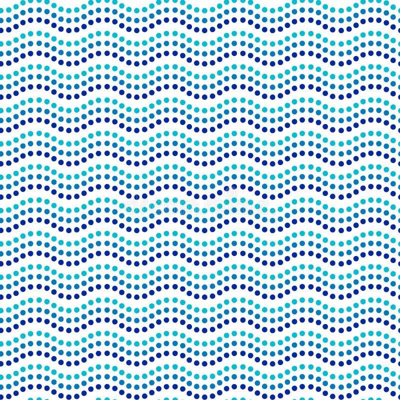 Linhas onduladas teste padrão sem emenda australiano étnico da arte azul e branca do ponto, vetor ilustração do vetor