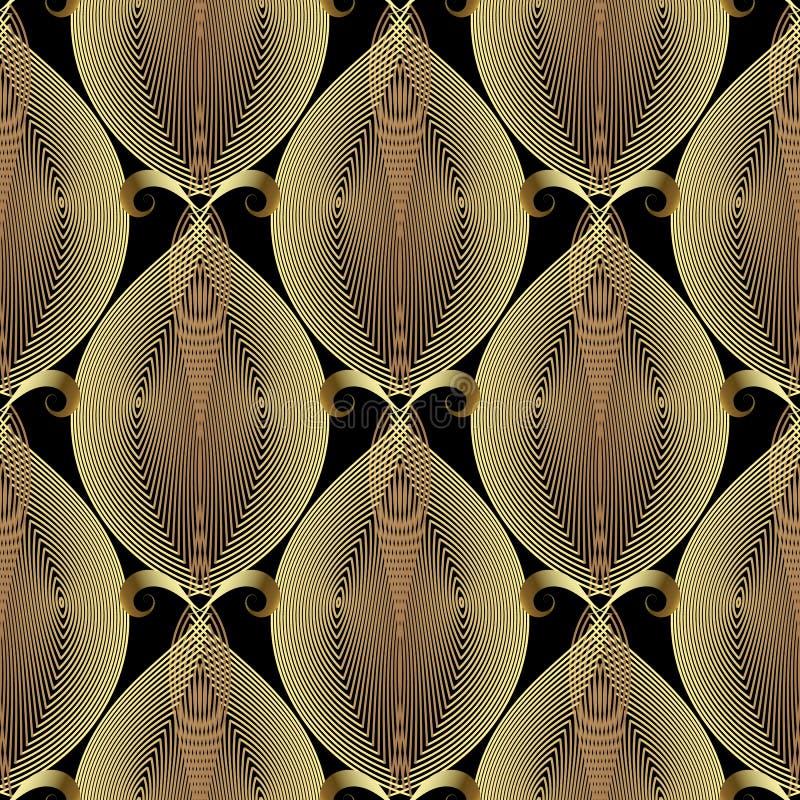 Linhas ornamentados teste padrão sem emenda do ouro do vetor 3d vibrante Fundo floral decorativo do vintage Linha tirada mão reti ilustração royalty free