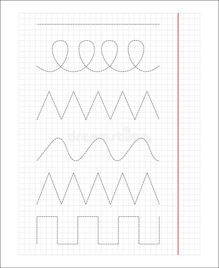 Linhas para que as crianças de ensino escrevam, para tirar, primeira escrita ilustração stock