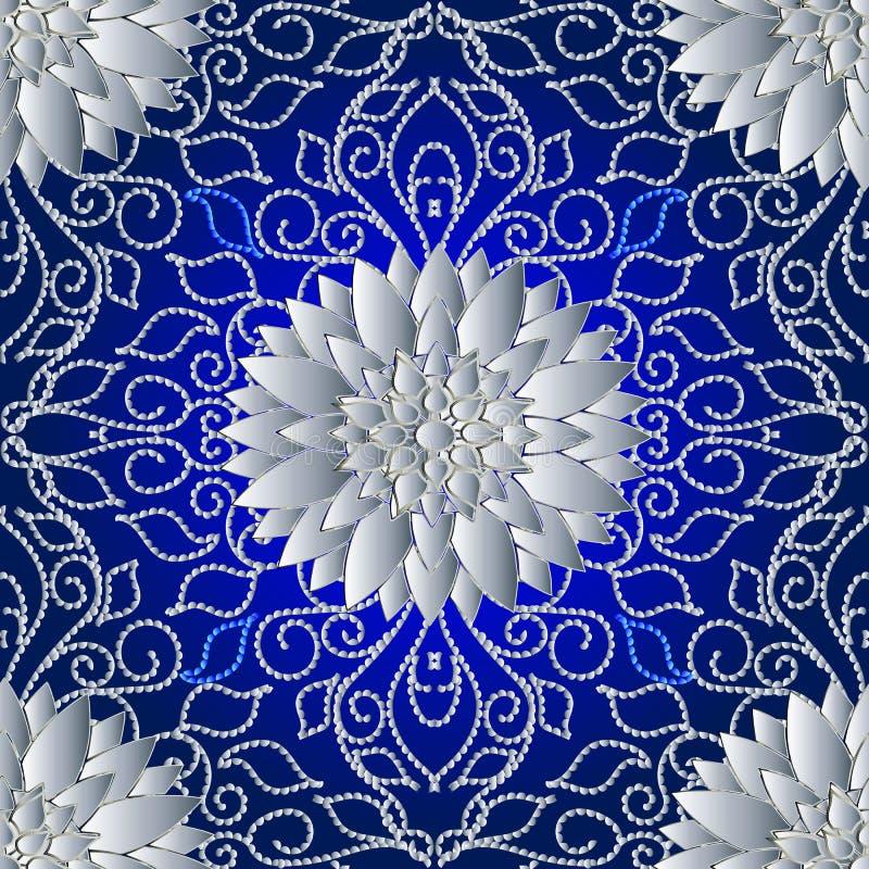Linhas pontilhadas teste padrão 3d seanless floral Backgro abstrato do vetor ilustração do vetor