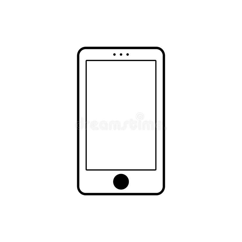 Linhas pretas ícone branco do telefone celular do telefone com tecla preta Vetor eps10 do ícone do sinal de Smartphone ilustração stock