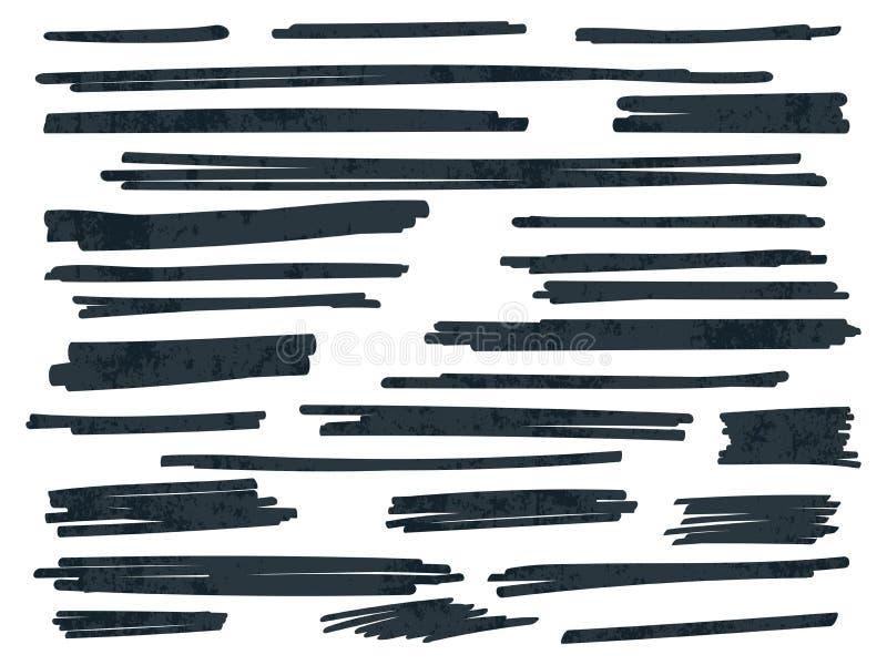 Linhas pretas do vetor da escova do marcador do destaque ajustadas ilustração do vetor