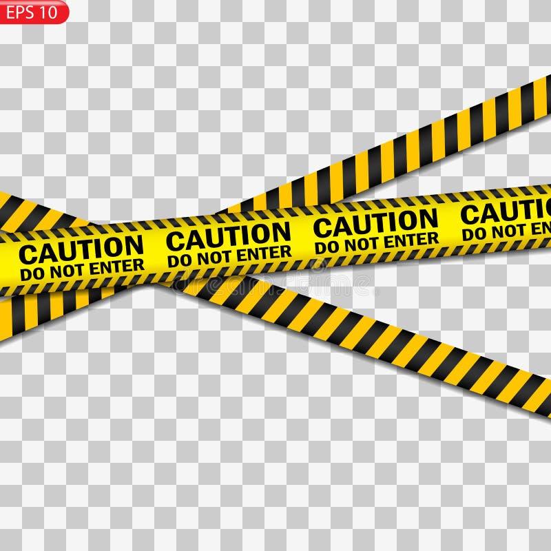 Linhas pretas e amarelas do cuidado isoladas ilustração stock