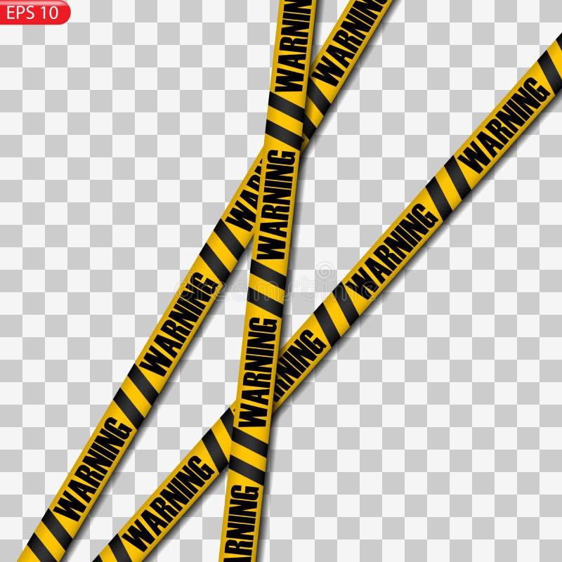 Linhas pretas e amarelas do cuidado isoladas ilustração royalty free
