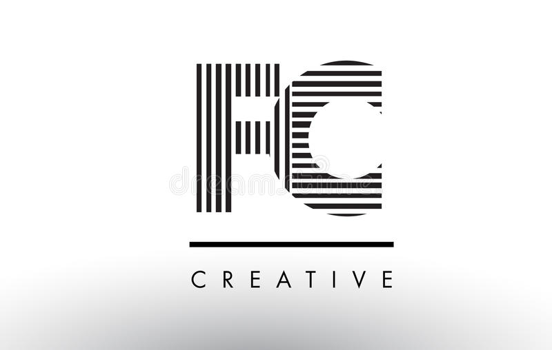 Famosos Linhas Preto E Branco Letra Logo Design De FC F C Ilustração do  MN01