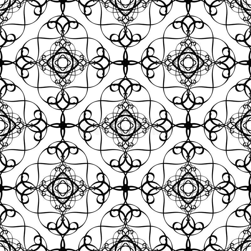Linhas preto e branco teste padrão sem emenda do vetor do estilo árabe Linha tirada mão ornamento do arabesque do tracery da arte ilustração stock
