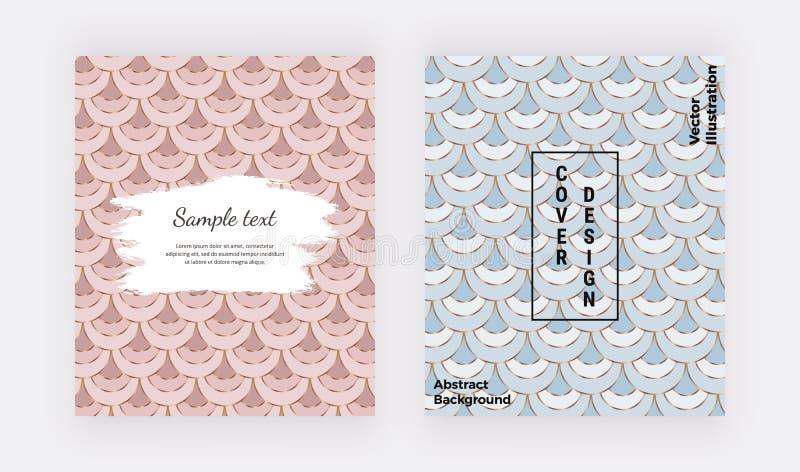 Linhas projeto do rosa, as azuis e as douradas da sereia Tampa geométrica com formas dos peixes da escala e textura da aquarela d ilustração stock