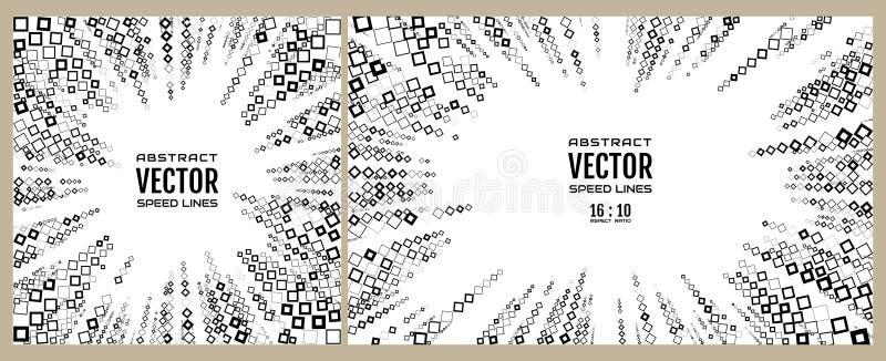 Linhas radiais ajustadas da velocidade Ilustração geométrica de quadros diferentes dos tamanhos dos rombos, cores preto e branco  ilustração do vetor
