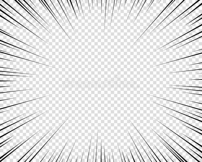 Linhas radiais da velocidade com perspectiva, teste padrão Elemento do projeto da folha de prova Objeto do vetor isolado em um fu ilustração stock