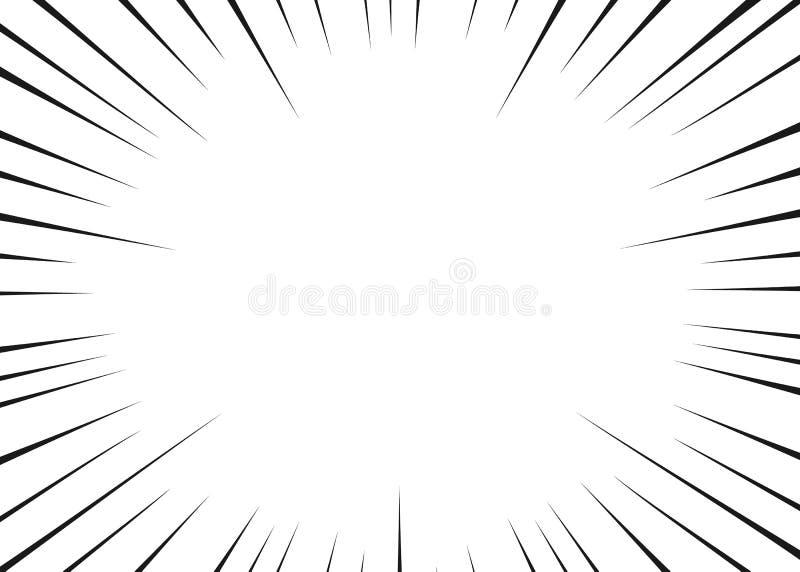 Linhas radiais para a banda desenhada, ação do preto do vetor do super-herói Velocidade do quadro de Manga, movimento, fundo da e ilustração do vetor