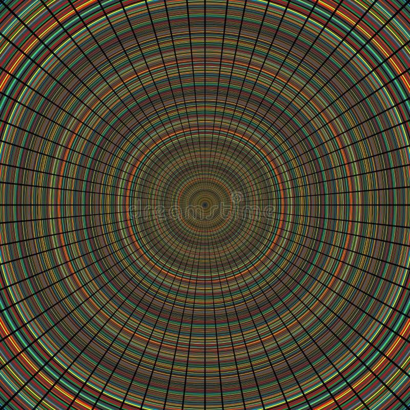 Linhas radiais sobre círculos concêntricos aleatórios coloridos ilustração royalty free