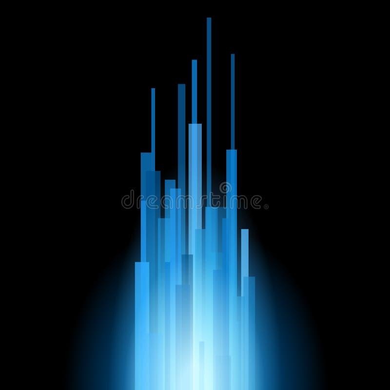 Linhas retas azuis sumário no fundo preto. Vetor ilustração royalty free