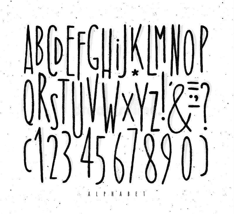 Linhas retas fonte do alfabeto ilustração do vetor