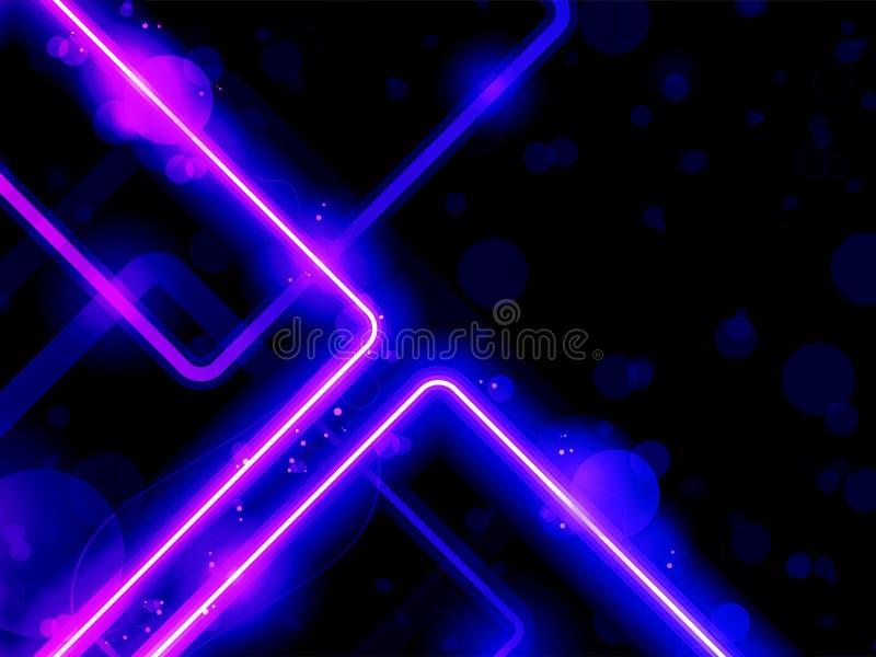 Linhas roxas azuis laser do néon do fundo ilustração do vetor